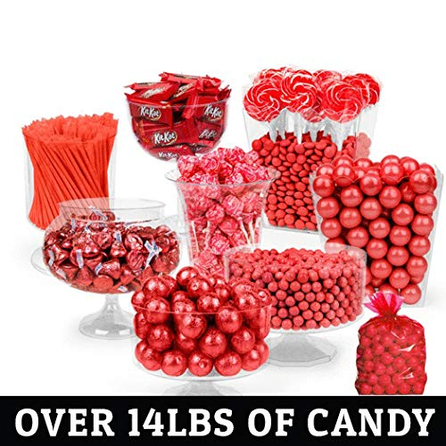 Red Candy Buffet - (Approx 14lbs) Includes Hershey's Kisses, Kit Kats, Sixlets, Gumballs, Dum Dum Lollipops & More - Free Cold Packaging