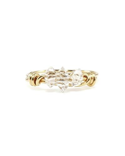 Rose Cut Rock Crystal Gemstone Sterling Silver Yellow Gold Birthstone Gift Ring