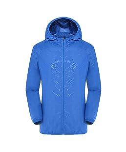 Men's Women Raincoat, Casual Jackets Windproof Ultra-Light Rainproof Windbreaker Top, Multifunction Coat 2019 🔥🔥🔥 (Blue, L)