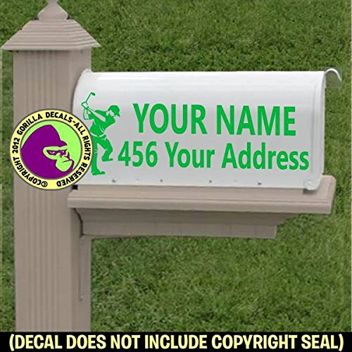 Golfer Male MAILBOX Set - CUSTOM ADDRESS - Vinyl Decal Sticker F