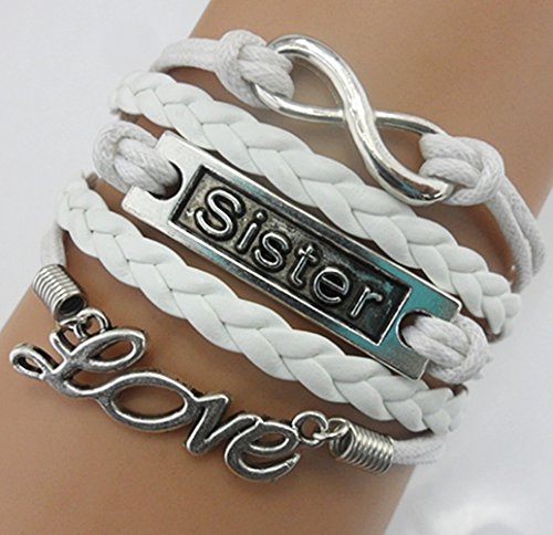 Handmade Infinity Sister Love Charm for Friendship Gift - Fashion Personalized Leather Bracelet