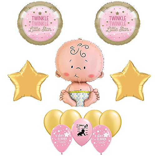 Twinkle Twinkle Little Star Girl Baby Shower 12 Piece Balloon Bouquet (A Star Is Born Baby Shower compare prices)