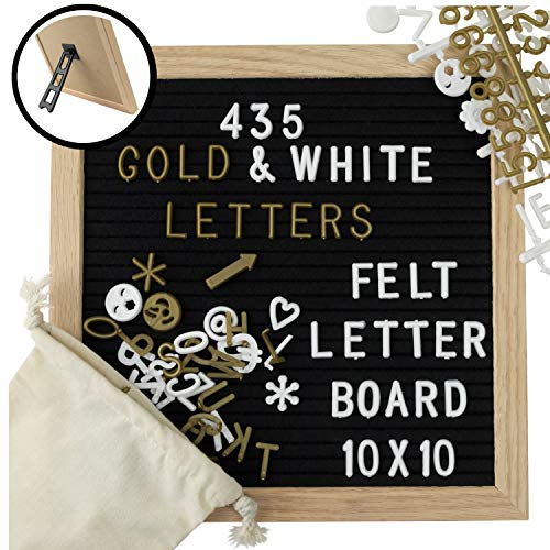 Amstorm Black Felt Letter Board 10x10 with Stand, 435 Gold and White Plastic Letters, Message Board has Oak Frame