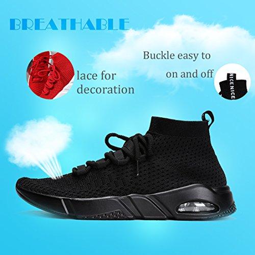 Lightweight Knit Black Athletic Ceyue Breathable Unisex Casual Women's Running Black Sport 2 Walking Sneaker Men's Shoes vOv6Xn
