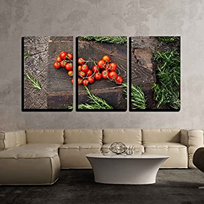 Fresh Vegetables Cherry Tomatoes with Rosemary on Wood in Vegetable Garden x3 Panels, Quality Artwork, Beautiful Visual