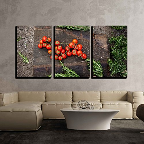 wall26 - 3 Piece Canvas Wall Art - Fresh Vegetables. Cherry Tomatoes with Rosemary on Wood in Vegetable Garden - Modern Home Decor Stretched and Framed Ready to Hang - 16