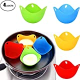 WUZJ 4packs Silicone Egg Cooker Non-Stick Egg Boiler Colorful...