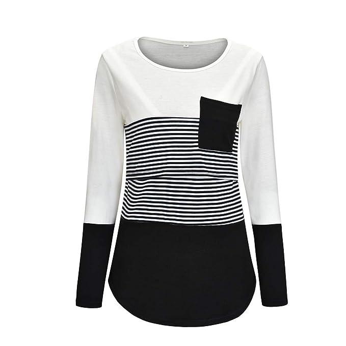 Women Maternity Nursing Shirts Blouse Stripe Round Neck Short Sleeve Breastfeeding Casual Blouse Tees S-2XL