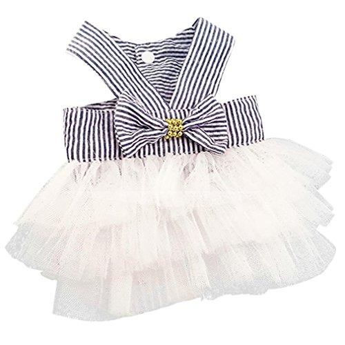 Howstar Pet Dress, Cute Halter Bowknot Tutu Dresses for Dog Puppy Lace Skirt Princess Dress (S, -
