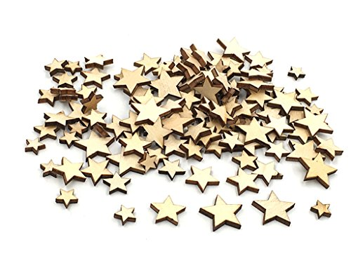 Kinteshun Natural Wood Unfinished Cutout Veneers Slices for Patchwork DIY Crafting Decoration(100pcs,Mixed Sizes,Pentagram Five-pointed Star Shape)