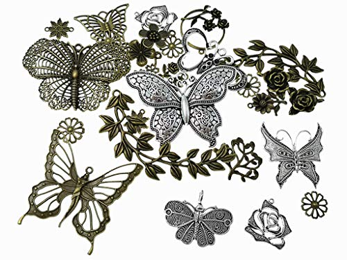 Kinteshun Butterfly Flower Leaf Charm Pendant for DIY Jewelry Making Accessaries(29pcs,Silver&Bronze Tones) (Silver Tone Butterfly Charms)