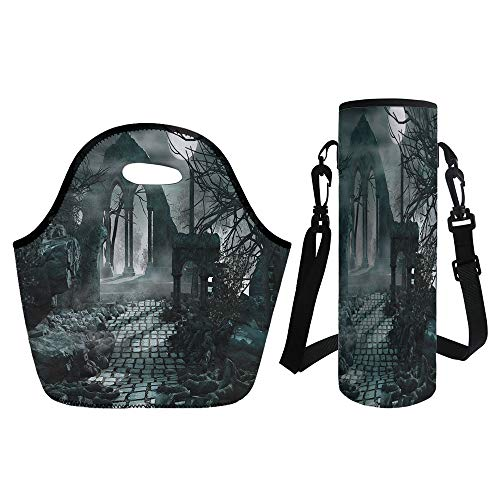 3D Print Neoprene lunch Bag with Kit Neoprene Bottle Cover,Gothic Decor,Full Moon Light over Medieval Temple Ruins at Night Dark Scary Backdrop Image,Blue Grey,for Adults Kids