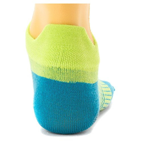 761072931394 - Injinji Women's Run Lightweight No Show Coolmax Xtralife Socks (Neon Green Turquoise, Medium / Large) carousel main 2