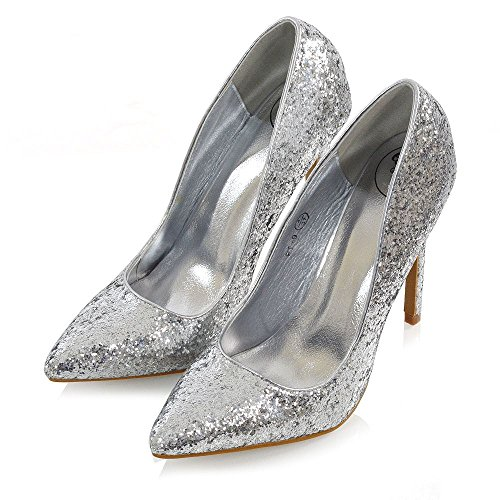 Essex Glam Donna Tacchi A Spillo Glitter Point Toe Party Prom Shoes Glitter Argento