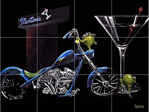 Martini Glass Green Olives Painting Ceramic Tile Mural backsplash bar Bike Chopper Motorcycle 24