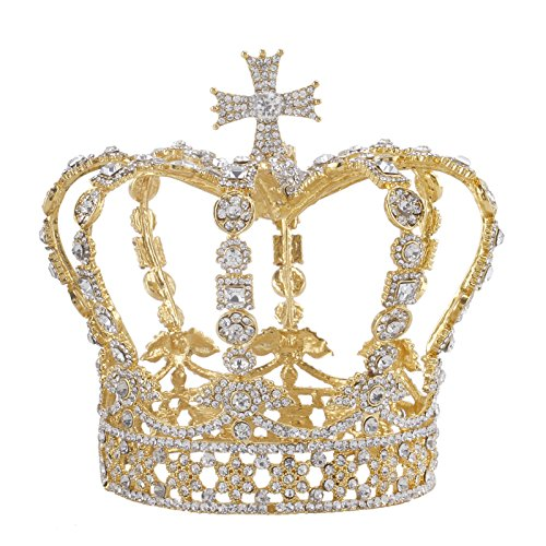 Santfe 5 Height Baroque Royal King Queen Cross Crown Style Rhinestone Crystal Prom Party Tiaras Crown Hair Accessories (Gold)