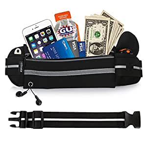 UShake Gear Running Belt, Bounce Free Pouch Bag, Fanny Pack Workout Belt Sports Waist Pack Belt Pouch for Apple iPhone 8 X 7 6 6+ Samsung Note Galaxy in Running Walking Cycling Gym with Extender
