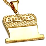 Barber Hair Clipper Blade Necklace, Gold Color