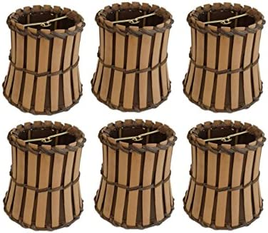 Upgradelights Set of Six Bamboo Style Mini 4 Inch Clip on Chandelier Lamp Shade 2.5x4x4.25