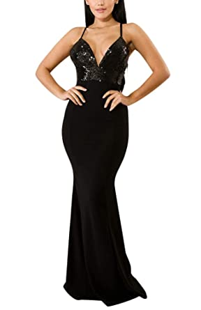 d55fe1fef3b Women's Mermaid Semi Formal Dresses - Elegant Spaghetti Strap Sequin Long  Evening Ball Gowns Small Black