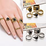 5PCS/Set Gold Silver Alloy Women Resin carved Midi Finger Knuckle Rings Jewelry