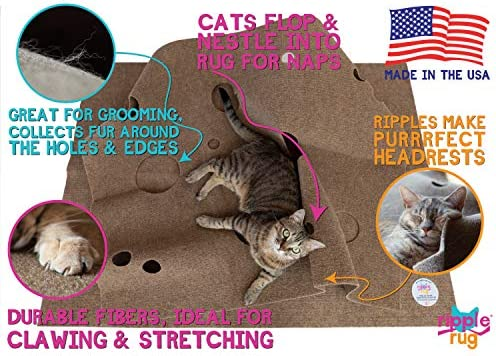 SnugglyCat The Ripple Rug - Made in USA - Cat Activity Play Mat - Thermally Insulated Base - Fun Interactive Play - Training - Scratching - Bed Mat 8
