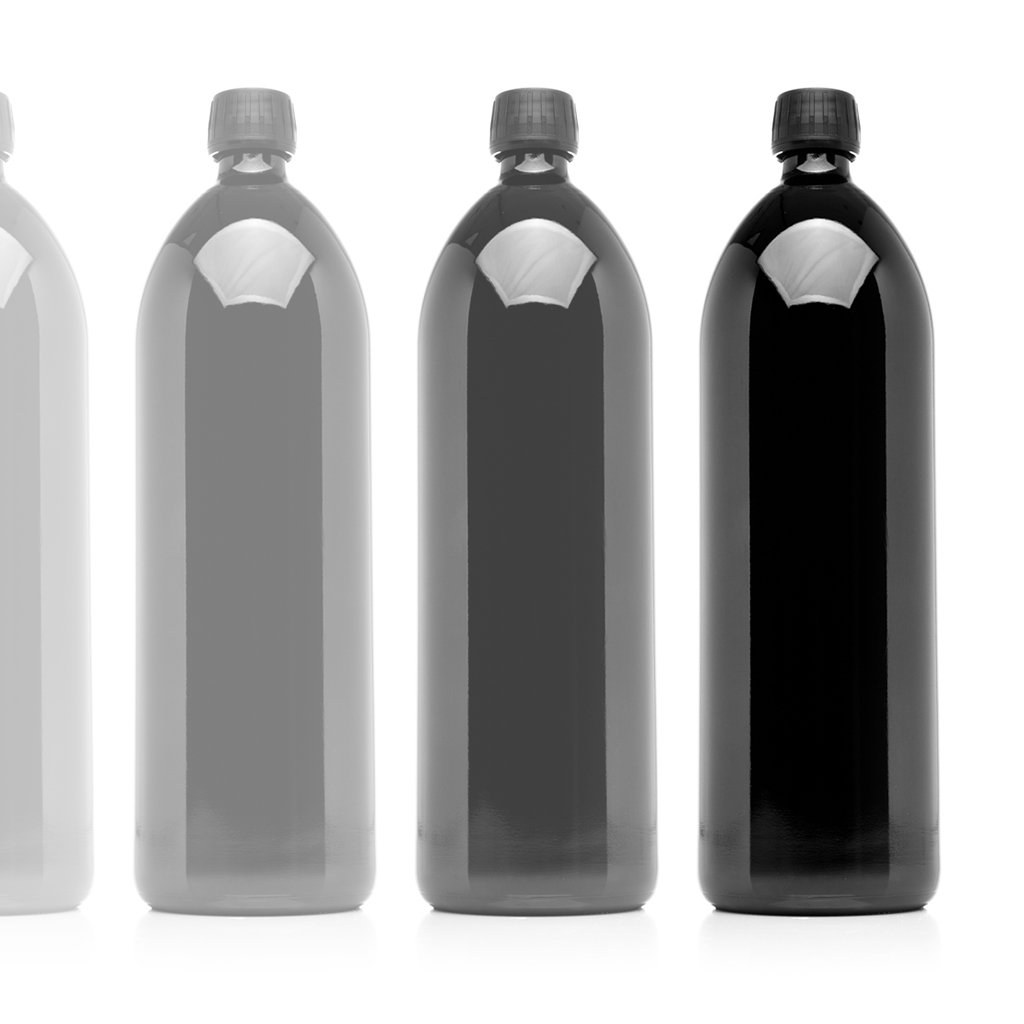 Infinity Jars 1 Liter (34 fl oz) Round Ultraviolet Large Glass Water Bottle 10-Pack