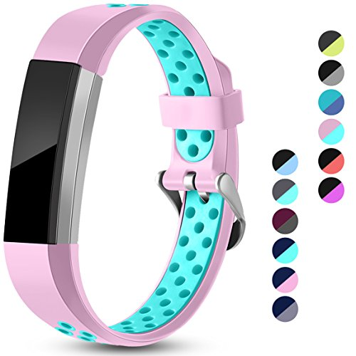 Maledan Replacement Bands Compatible for Fitbit Alta, Fitbit Alta HR and Fitbit Ace, Accessory Sport Bands Air-Holes Breathable Strap Wristbands with Stainless Steel Buckle, Pink/Teal, Large