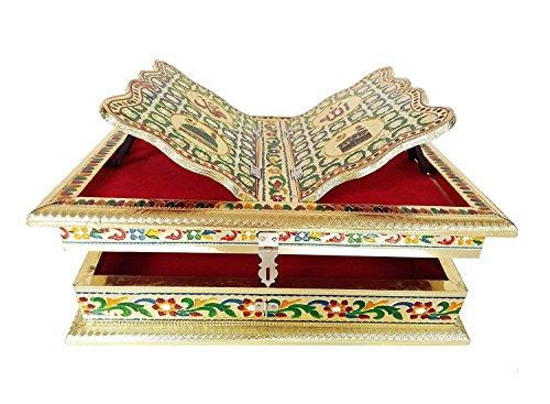 Ajmer Sharif Dargah Islamic Muslim Gift Holy Al-Ameen Khwaja Garib Nawaz Quran Koran Book Stand Handmade Box with Free Goden Coated Diamond Studded Artisan Oak Rectangular Table
