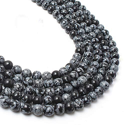 (8mm Black Onyx Gemstone Round Loose Beads for Jewelry Making(47-50pcs/strand) (Snowflake))
