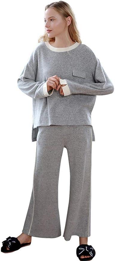 Casual Pantalones De Pijama Mujer Algodón Camisón De Manga ...