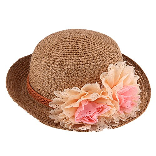 FINEJO Summer Fashion Baby Girl Half a Flanging Straw Hat Beach Sun Cap with Two Flowers Khaki
