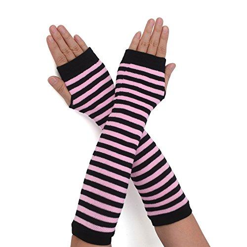 Flammi Women's Fingerless Arm Warmers Gloves Knit Thumb Hole Gloves Mittens (Black/Pink Stripe) (Arm Stripe)