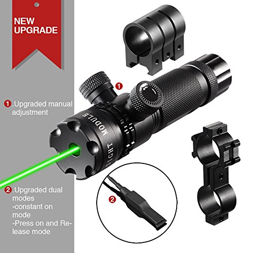 [UPDATED] Lirisy Tactical Hunting Rifle Green Laser Sight Dot Scope Upgrated Manual adjustable and Automatic Lock Function