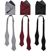 3 Sets Heymei Men's Self Pre-tie Bowtie with Pocket Square Bow Tie Hanky Set S01 (Multi 1)
