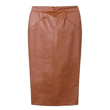 d3709d7066f443 Tonsee® Femmes Jupe en PU Cuir Taille Haute Parti Slim Jupe Crayon