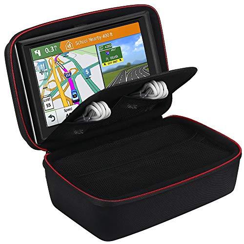 BOVKE Carrying Case for 6 7 Inch GPS Navigation Garmin Nuvi 2797LMT 2689LMT DriveSmart 61 NA LMT-S Tomtom Go Via 1625TM Portable Bluetooth Vehicle GPS Navigator and Accessories, Black + Inside Black
