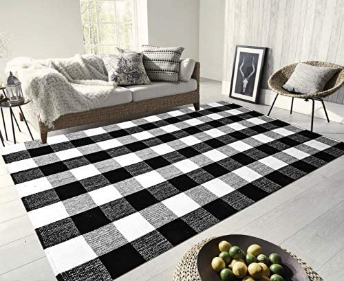 Egyptian Cotton Tree 100 Hand-Woven Cotton Large Black White Washable Rugs, Plaid Area Rug Runner Rug Washable Checkered Rug for Kitchen Door Way Laundry 67 X 90