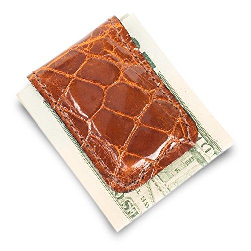Alligator Money Clip - Genuine Florida Alligator Leather Money Clip (Cognac)