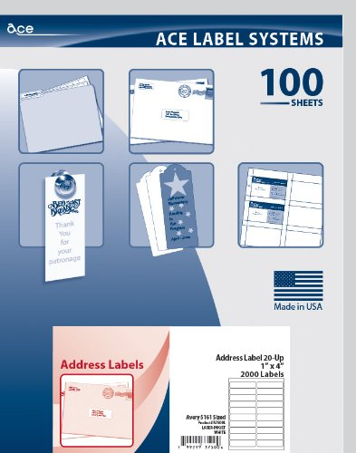 Ace Label Mailing, Address & Shipping Labels for Laser and Inkjet Printer, 5161 Sized, 4 x 1 Inches, Pressure-Sensitive Labels, White, 100 Sheets, 20 per Sheet, 37500L