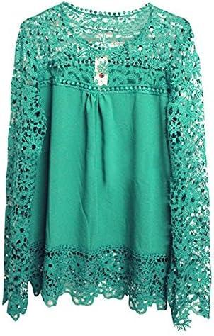 Hippolo - Elegante camisa de ganchillo para mujer XXL verde: Amazon.es: Hogar