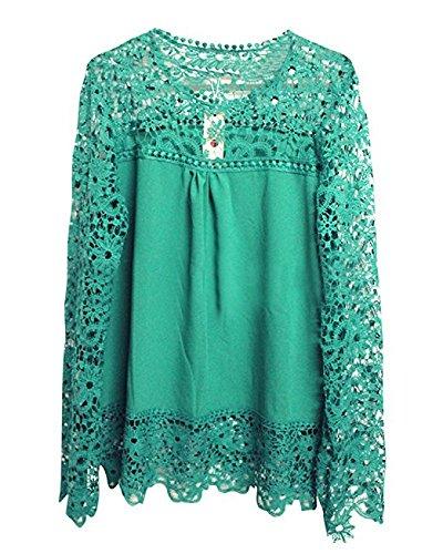 Femme Crochet Longues O Manches Dentelle Hippolo Blouse Hauts L Cou Vert Violet lgant Creux Chemise Fonc HTqSw