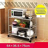 HUO Stainless Steel Kitchen Rack Microwave Oven Mobile Rack Multifunction (Size : 3 capas de 64CM)