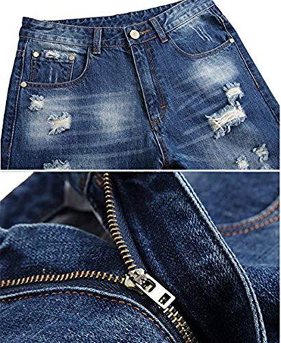 Battercake Sigaretta Svago Comodo Jeans Resistente Denim Gli Distrutto Uomini Pantaloni Blu Strappati A Di qng4qarU
