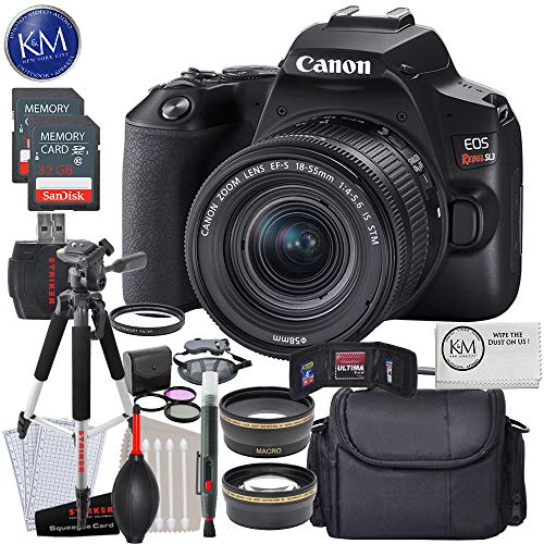Canon EOS Rebel SL3 DSLR Camera with 18-55mm Lens (Black) with Deluxe Striker Bundle
