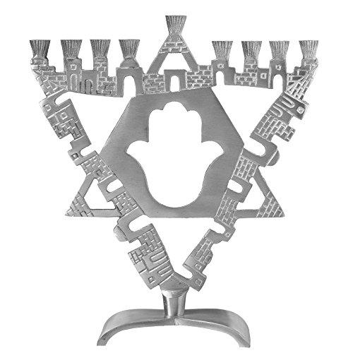 Ner Mitzvah Hamsa Artistic Aluminum Candle Menorah - Fits All Standard Chanukah Candles - Ancient Jerusalem Design