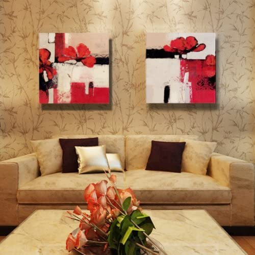 ElleWeiDeco Modern Oil Painting on Canvas Stretched – Red Flowering