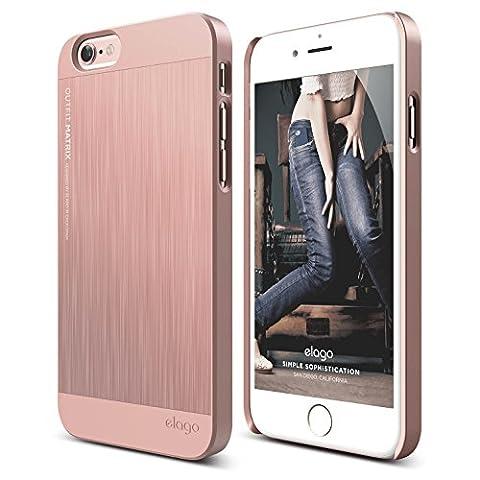 iPhone 6S Case, elago [Outift Matrix][Rose Gold] - [Premium Hybrid Construction][Brushed Aluminum][Spark Design Award] - for iPhone (Phone Covers For Iphone 6 Elago)