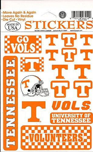 Removeable Vinyl Stickers - Tennessee Volunteers Vinyl Cling Stickers 18 Removeable Decals NCAA Licensed