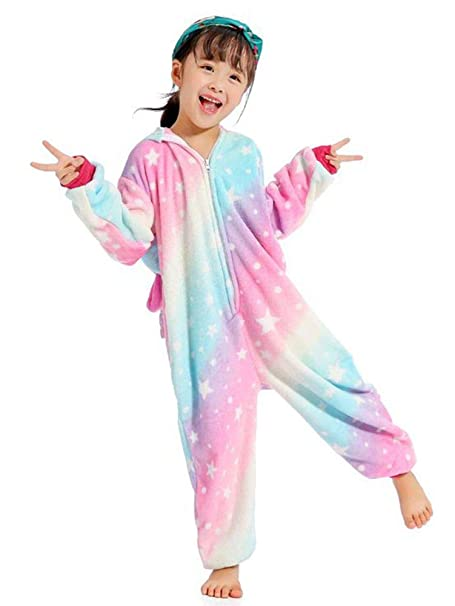 6ac4ac482c2b Amazon.com  BELIFECOS Flannel Children Unicorn Cosplay Costume Onesie  Pajamas  Clothing